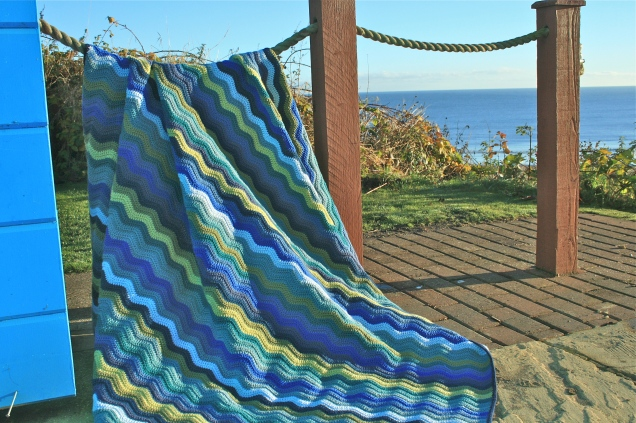 Wave Pattern Afghan Blanket