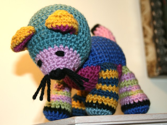 Colourful Crochet Stripy Cat