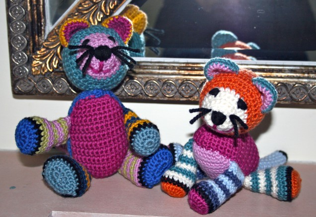 Two Stripy Crochet Cats