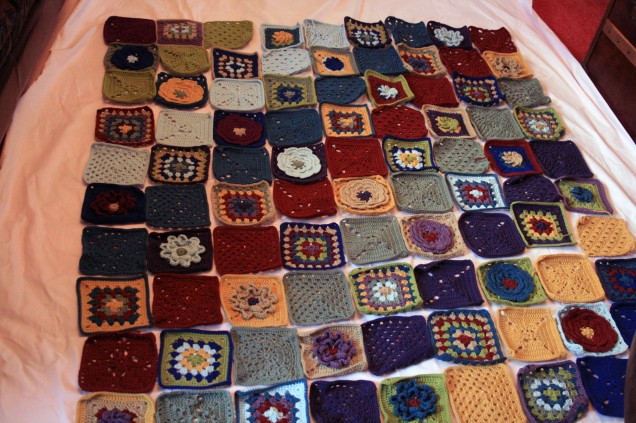 Blanket Squares Pinned on Sheet