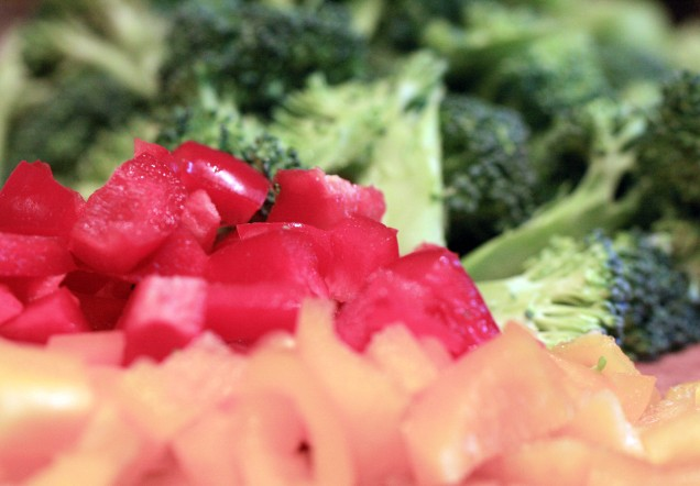 Chopped Peppers and Broccoli