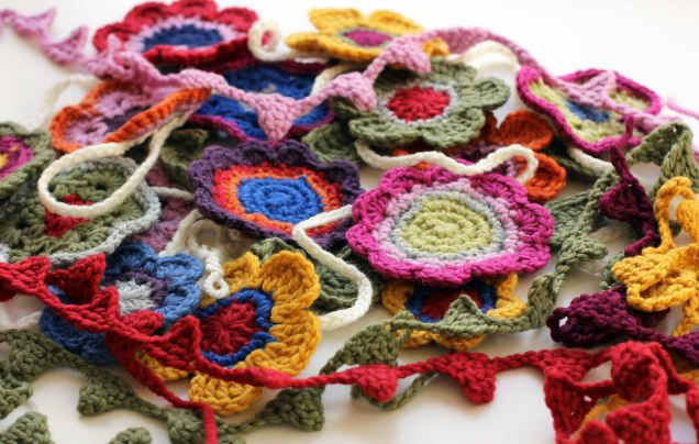 Crochet Flower and Mini Bunting Pile