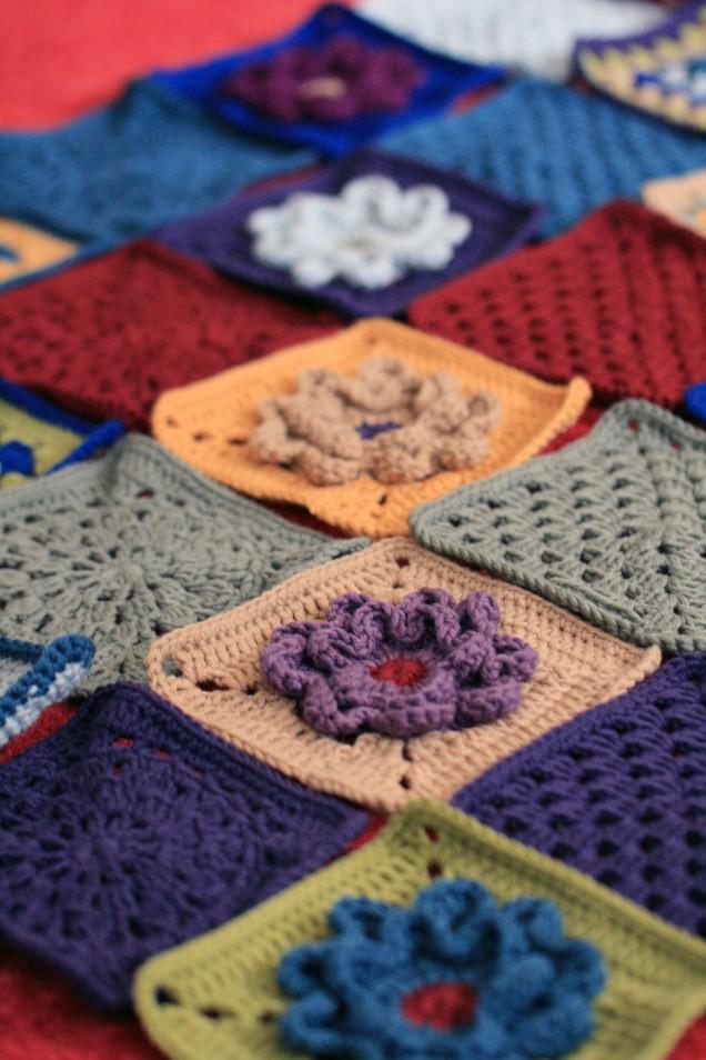 Flower Motif Blanket Squares
