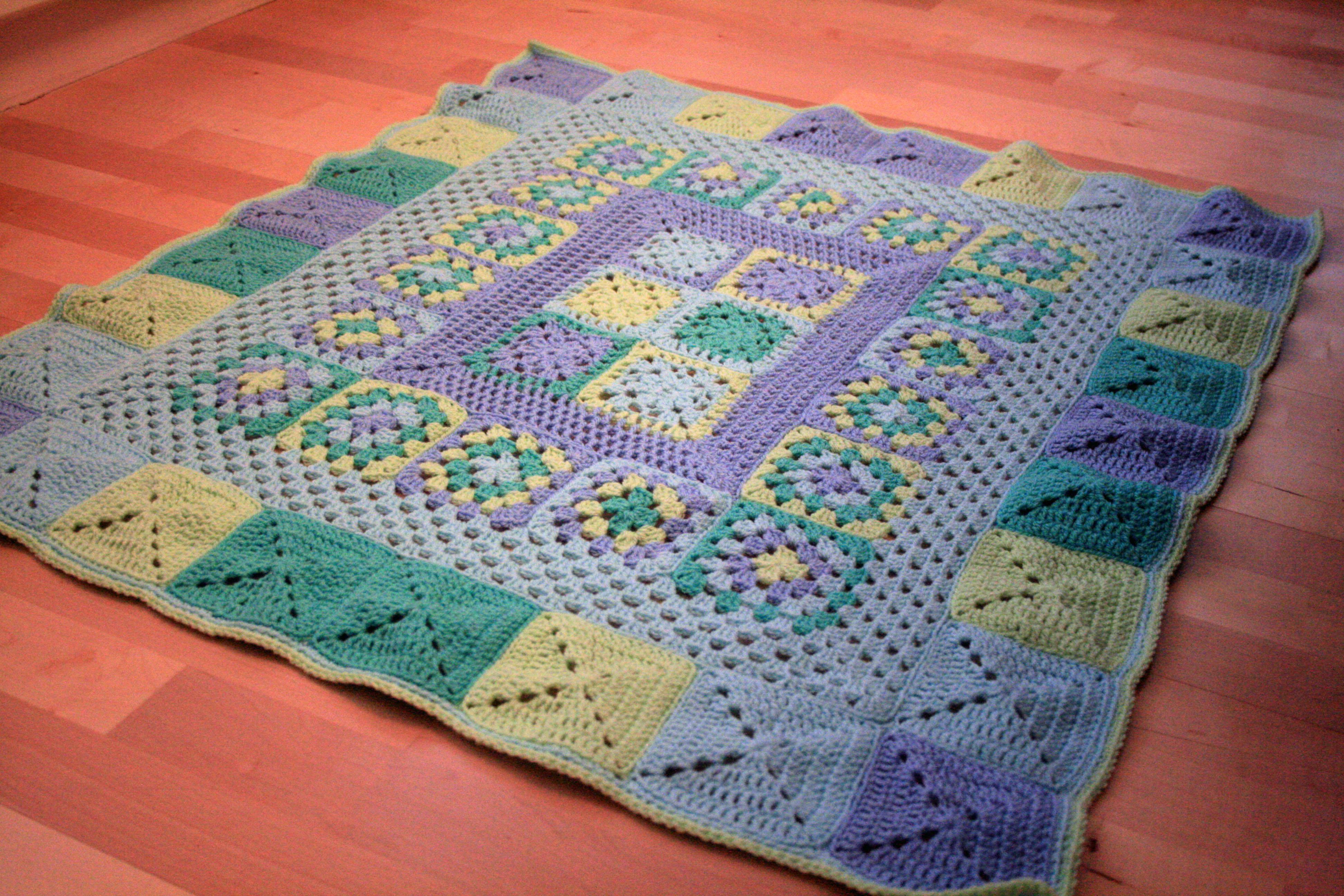 Blue knitted blanket crochet baby blanket pretty in