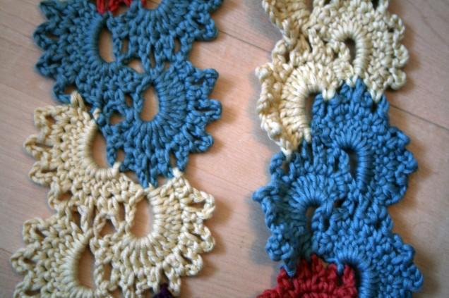 Crochet Scarf Blocked Edges Close Up