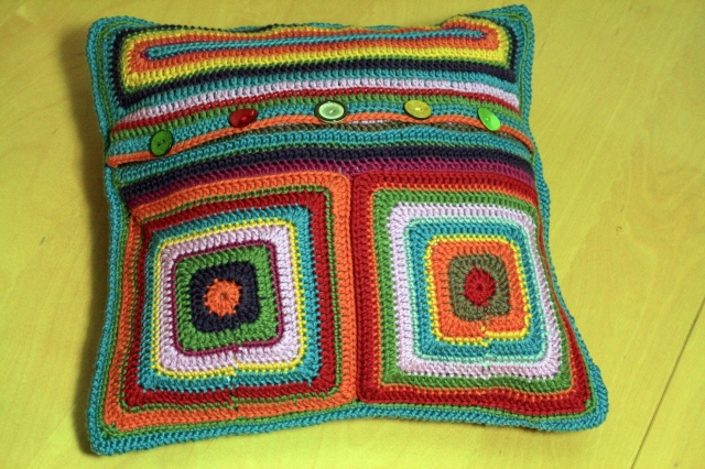 Crochet Floral Cushion Back