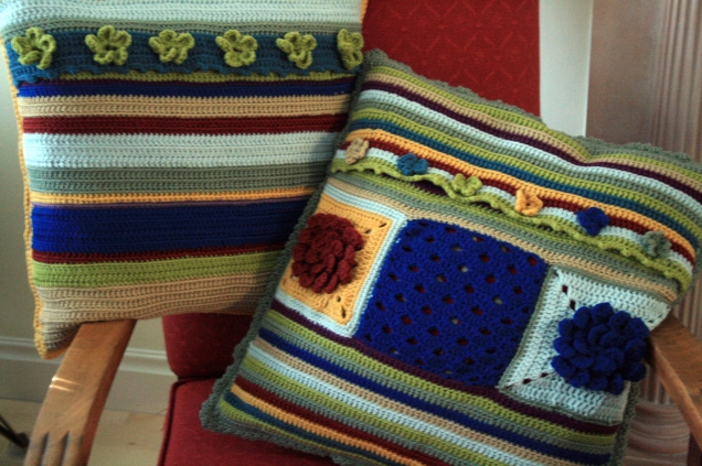Pair a Stripy Backed Cushions