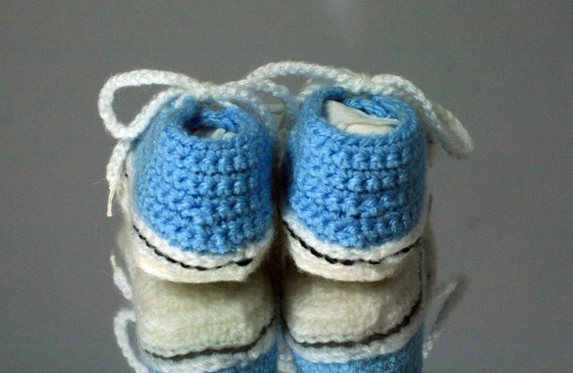 Crochet Converse Style Booties Back View