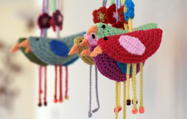 Crochet Birds in a Row