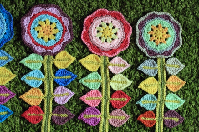 3 more Crochet Happy Flowers
