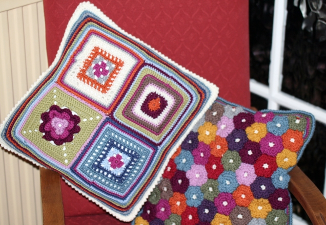 Crochet Squares Cushion in Chair