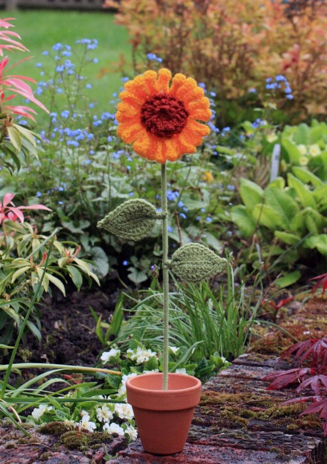 Crochet Sunflower in the Garden