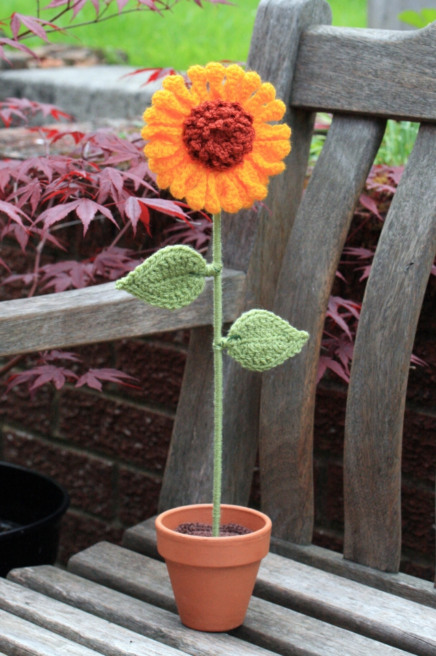 Crochet Sunflower on the Bench
