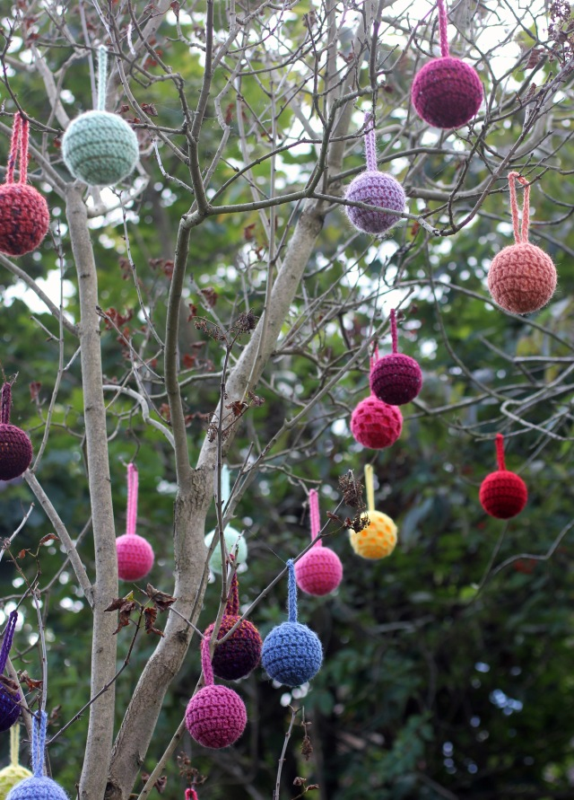 Crochet Balls in Tree