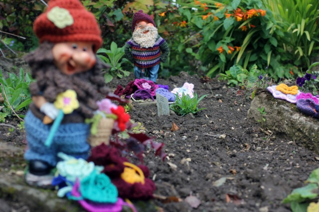 Yarn Bombed Garden Gnomes