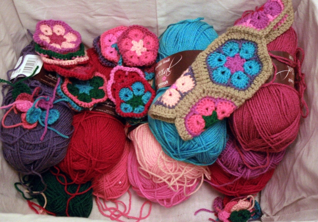 Basket of yarn colours