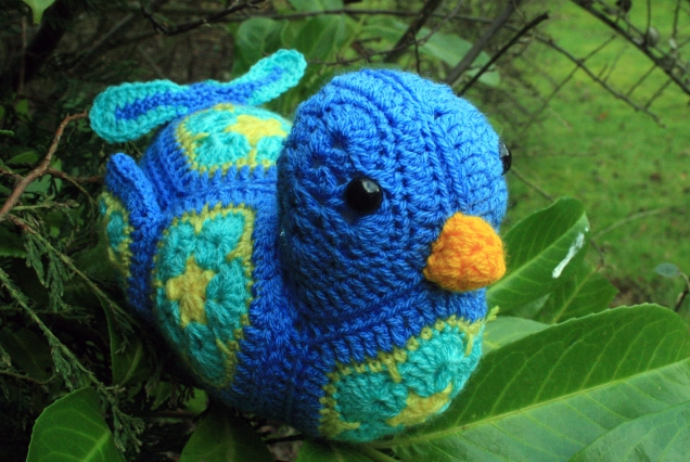 Crochet African Flower Bluebird 2
