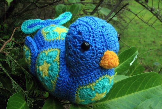 Crochet African Flower Bluebird 2