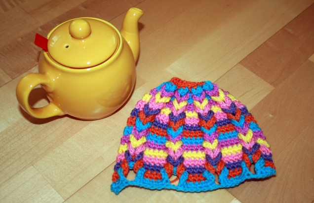Crochet Hot Hibiscus Tea Cosy Small
