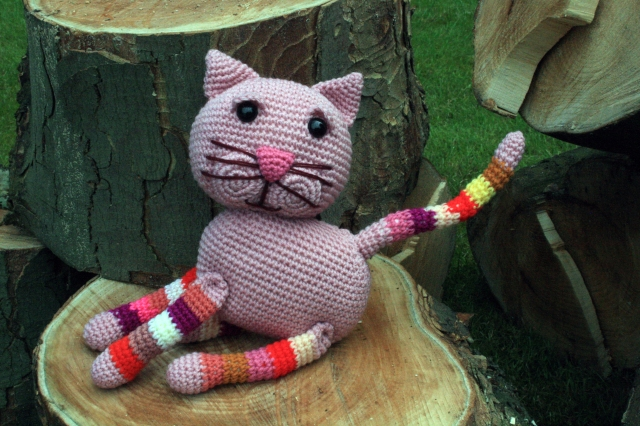 Crochet Cat with Stripy Legs