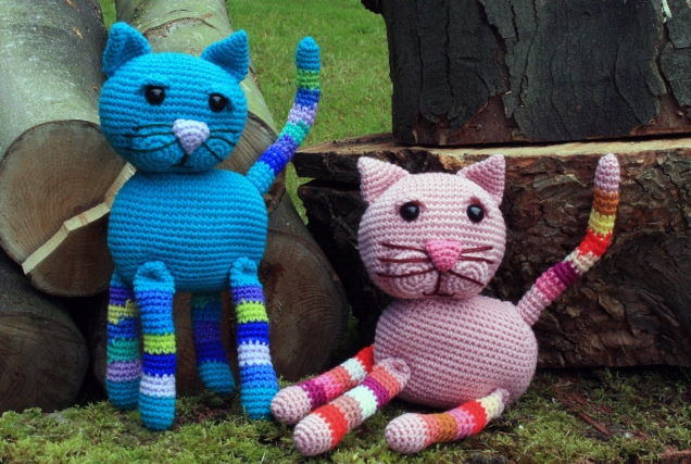 Crochet Cats with Stripy Legs